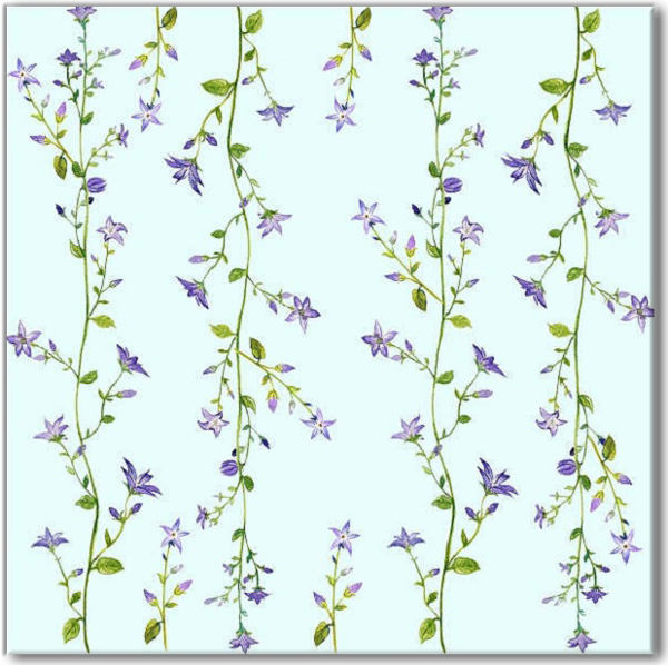 Blue tiles - Blue Forget-Me-Not Pattern Ceramic Wall Tile