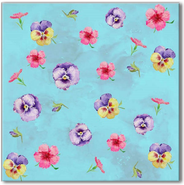 Blue Tiles - Blue Pansy Pattern Ceramic Wall Tile