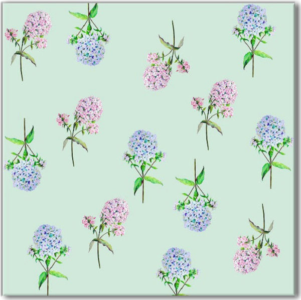 Green Tiles - Green, Blue and Pink Hydrangea Patterned Wall Tile