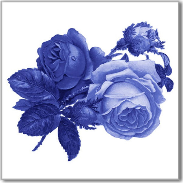 Blue Tiles - Blue roses on a white background ceramic wall tile