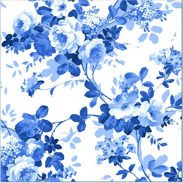 Blue Tiles - Blue and white roses pattern tile