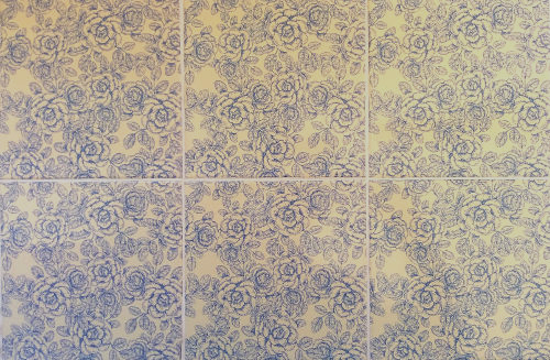 Patterned Tiles - blue and white roses floral design ceramic wall tiles