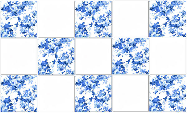 Blue tiles - blue roses pattern tile check pattern