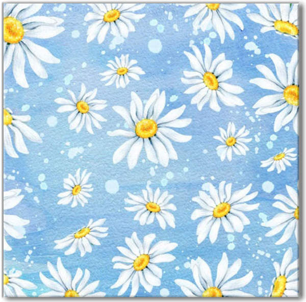 Blue Tiles - White Daisies Pattern Ceramic Wall Tile