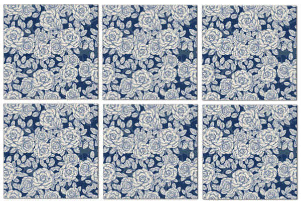 Blue tiles - dark blue roses ceramic wall tiles seamless pattern example
