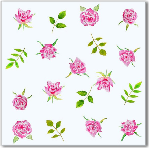 Patterned Tiles - Pink roses on a pale blue background ceramic wall tile