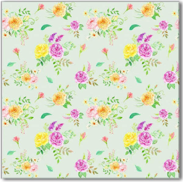 Green Tiles - Ditsy Floral Green Patterned Wall Tile