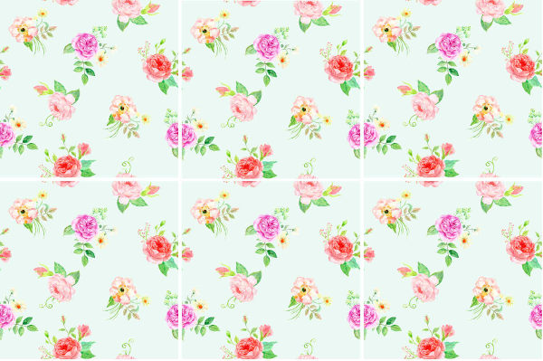 Patterned Tiles - Pale green ceramic wall tiles with pink and red floral design