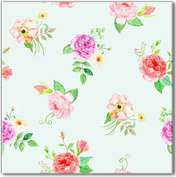 Green Tiles - Green, Red and Purple Roses Patterned Wall Tile