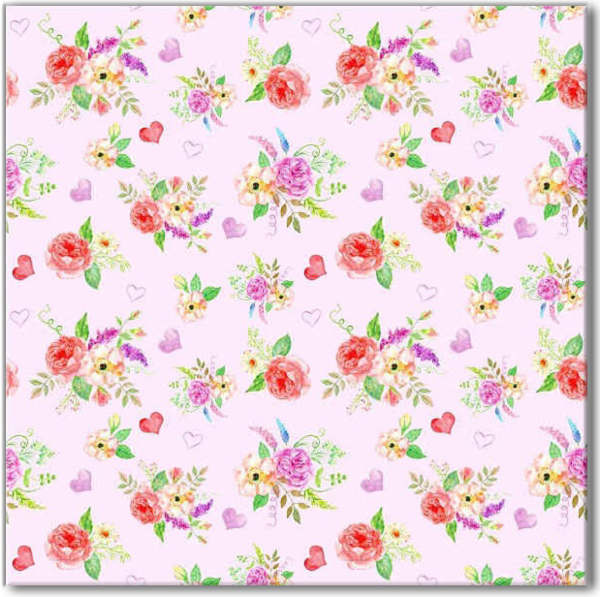 Pink Tiles - Ditsy Roses and Hearts Patterned Tile