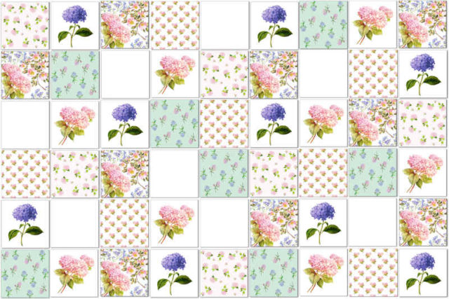 Patchwork Tiles - Green, Blue and Pink Hydrangeas Eclectic Patchwork Tiles Pattern Example