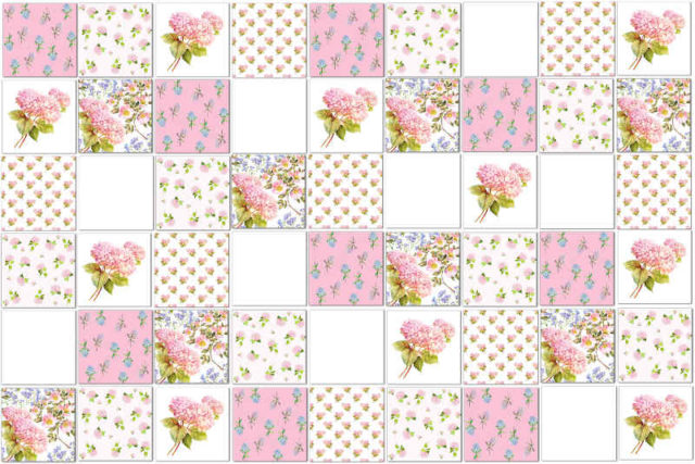 Patchwork Tiles - Hydrangea Tiles - Eclectic Patchwork Tiles Pattern Example