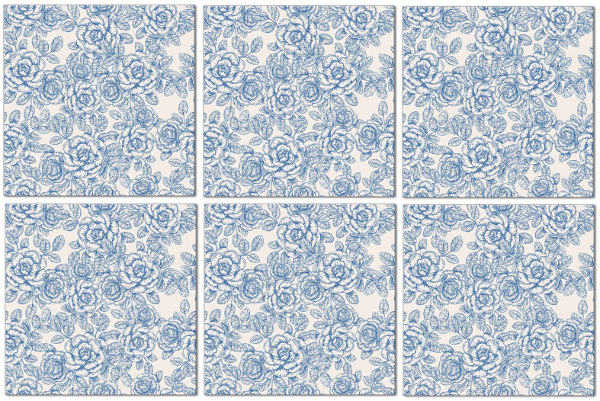 Blue Tiles - Light Blue Roses Pattern Example