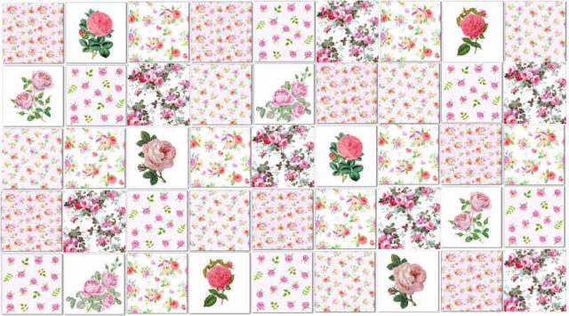 Pink Tiles - Pale Pink Roses Patchwork Tiles Pattern