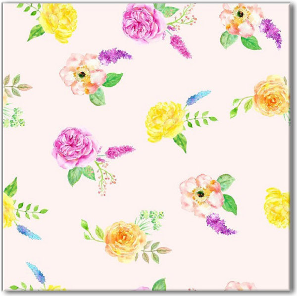 Yellow and Pink Floral Pattern Ceramic Wall Tile