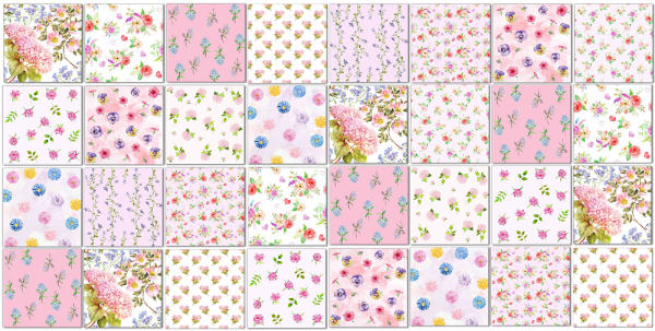 Patterned Tiles - patchwork wall tiles pattern idea in pinks