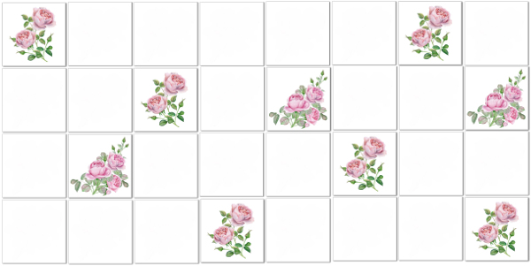 Decorative Tiles - Pink watercolour scattered roses tiles pattern example