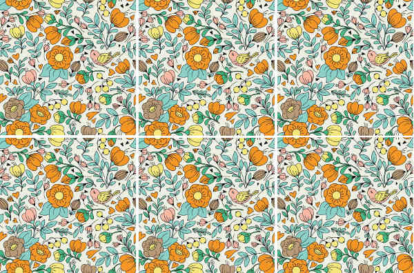 Patterned Tiles - Retro floral pattern ceramic wall tiles