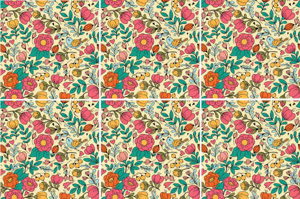 Decorative Tiles - Retro floral pattern ceramic wall tiles
