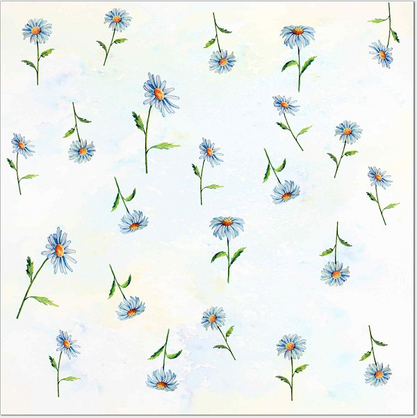 Patterned Tiles - Daisy Flowers Ceramic Wall Tile