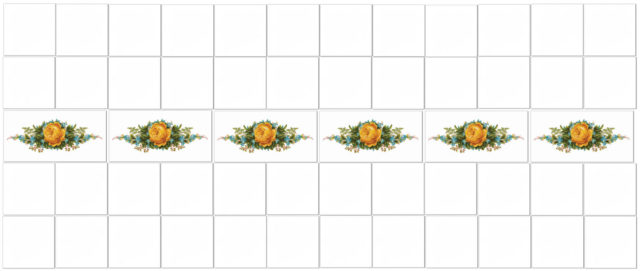 Yellow Tiles - Yellow Roses Border Tiles Pattern Example