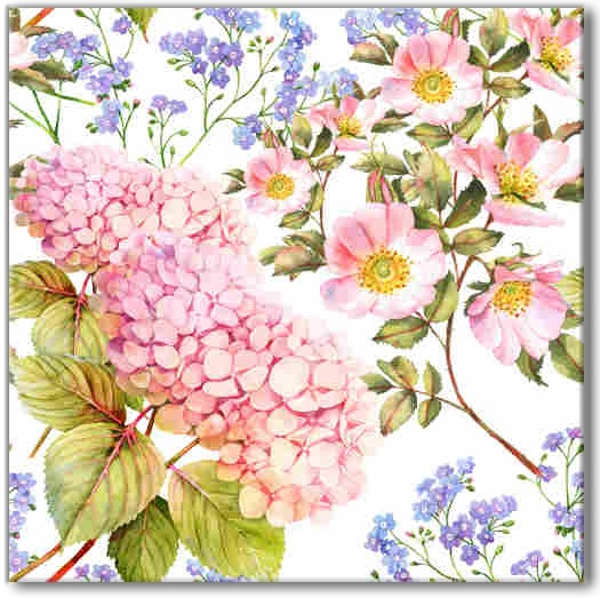 Flower Tiles - Hydrangea, roses and Forget me nots patterned ceramic wall tile