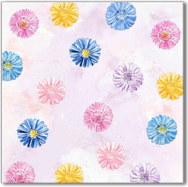 Flower tiles - blue, yellow and pink Daisy flowers on a pink background ceramic wall tile