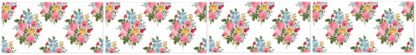 Vintage Flower Spray Border - White - Pattern Example