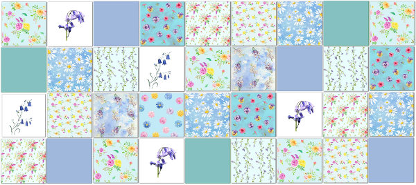 Kitchen tiles ideas - patchwork wall tiles example in blues