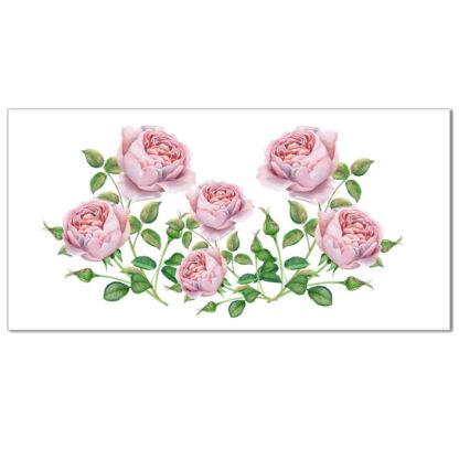 Floral border tile - ceramic wall tile with pale pink roses design