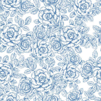 Light Blue and White Roses Pattern Ceramic Wall Tile