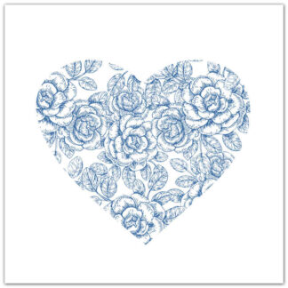 Light Blue and White Roses Heart Ceramic Wall Tile